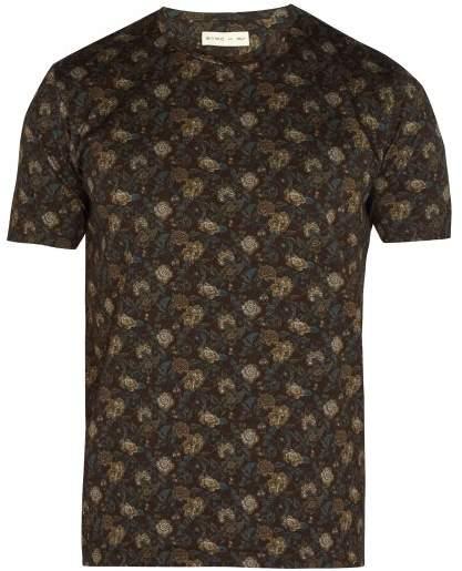 Etro Floral Print Cotton T Shirt - Mens - Brown Multi