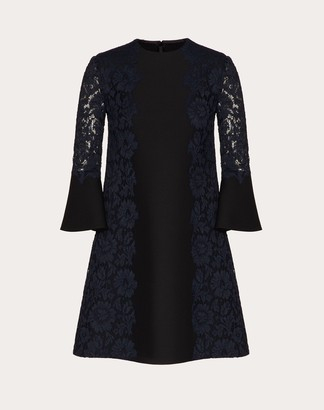 Valentino Crepe Couture And Heavy Lace Dress Women Black/navy Viscose 43%, Cotton 34% 40