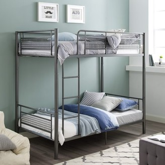 Manor Park Twin Metal Bunk Bed with Mesh Frame - Grey
