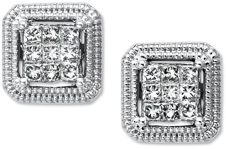 Diamond Square Princess-Cut Stud Earrings in 14k White Gold (1/3 ct. t.w.)