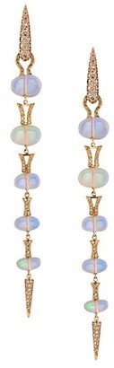 Etho Maria Misty 18K Rose Gold, Diamond & Opal Spear Drop Earrings