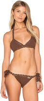 She Made Me Crochet Triangle Bikini Top in Brown