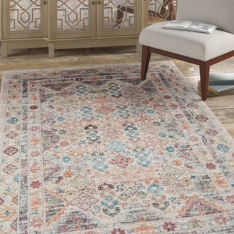 Bungalow Rose Basso Beige/Red/Blue Area Rug Rug Size: Rectangle 2' x 3'
