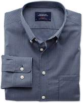 Charles Tyrwhitt Extra Slim Fit Non-Iron Poplin Blue and Grey Check Cotton Casual Shirt Single Cuff Size Small
