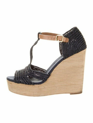 Tory Burch Raffia T-Strap Sandals Blue