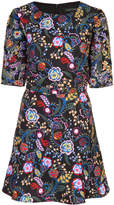 Saloni flared floral print dress