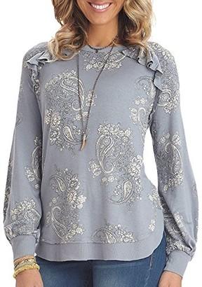 Democracy Women's Printed Sweatshirt with Ruffle Detail