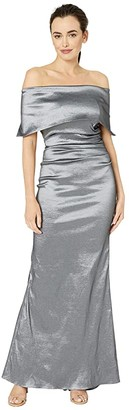 Vince Camuto Off-the-Shoulder Gown w/ Oversized Collar and Side Tucks (Gunmetal) Women's Dress