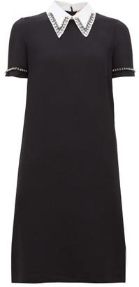 No.21 No. 21 - Crystal-embellished Point-collar Shift Dress - Womens - Black