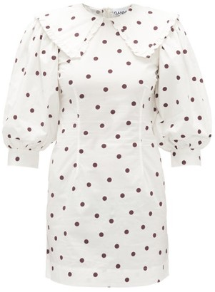 Ganni Sailor-collar Polka-dot Cotton Dress - White Multi