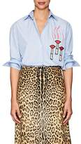 Valentino Women's Embellished Striped Poplin Shirt