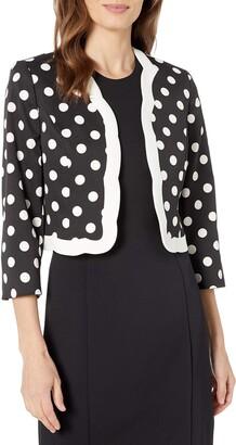 Kasper Women's Classic Dot Printed Flyaway Scalloped Jacket
