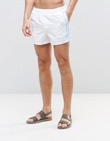 Asos Swim Shorts In White With Side Stripe In Short Length