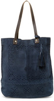 Sondra Roberts Laced & Perforated Suede Tote