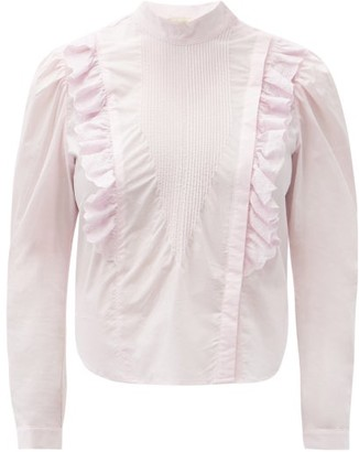 Mes Demoiselles Schiaparelli Ruffled Cotton-poplin Blouse - Light Pink