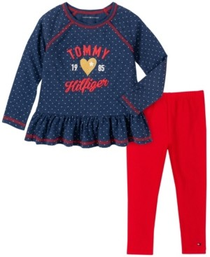 Tommy Hilfiger Little Girls Two Piece Dot Print Tunic Top with Leggings Set