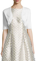 Lela Rose Half-Sleeve Cropped Shrug, White