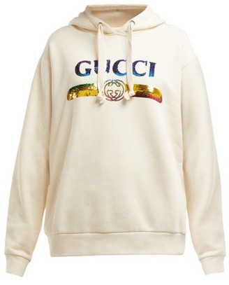 Gucci Sequinned-logo Hooded Cotton Sweatshirt - Womens - White Multi
