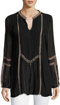 Tolani Lani Long-Sleeve Tunic w/ Contrast Embroidery