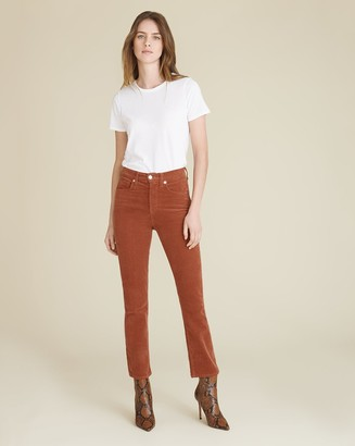 Veronica Beard Carly High-Rise Kick Skinny-Flare Corduroy Jean