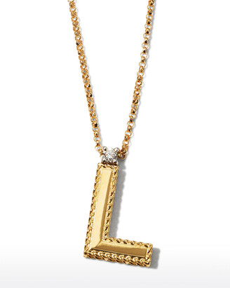 Roberto Coin Princess 18K Yellow Gold Diamond Initial Necklace, L