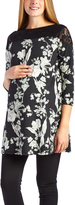 Glam Green Floral Lace-Yoke Maternity Tunic