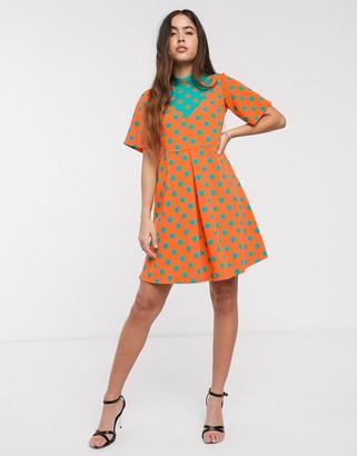 Closet London Closet polka dot contrast dress