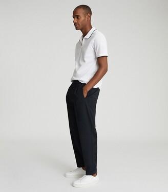 Reiss Jacob - Mercerised Cotton Zip Neck Polo in White