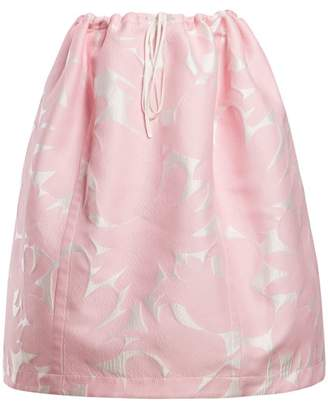 Marni Puffed Floral Jacquard Midi Skirt - Womens - Pink White