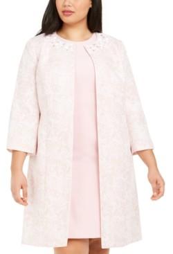 Kasper Plus Size 3/4-Sleeve Marble Floral Topper Jacket