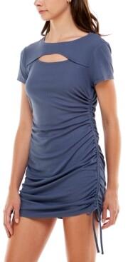 Ultra Flirt Juniors' Ruched Cutout Bodycon Dress