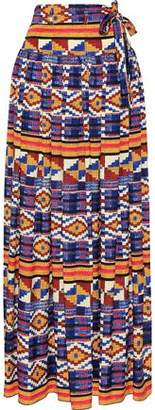 Stella Jean Belted Printed Crepe Maxi Skirt