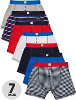 Very Boys Check and Striped Boxer Shorts (7 Pack)