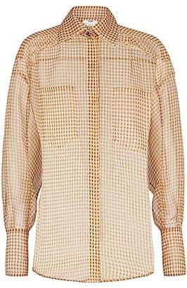 Fendi Gingham Silk Organza Shirt