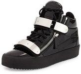 Giuseppe Zanotti Men's Double-Strap Patent Leather Mid-Top Sneaker, Black