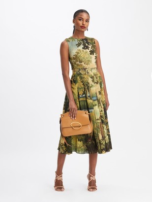 Oscar de la Renta Sleeveless Landscape Midi Day Dress