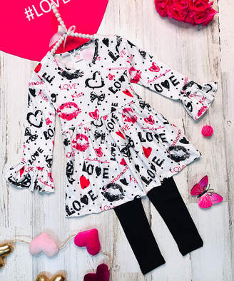 Mia Belle Girls Girls' Casual Dresses Black - White Heart 'Love' Trumpet-Sleeve Tunic & Black Leggings Set - Toddler & Girls