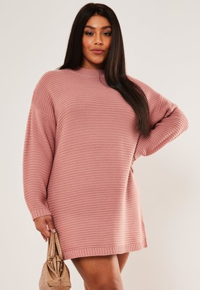 Missguided Plus Size Rose Ribbed High Neck Dress