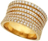 Crislu Stack Like Pinched 18K Gold Plated Sterling Silver 7 Row CZ Pave Band
