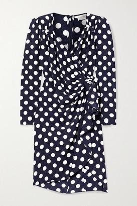 Michael Kors Draped Wrap-effect Polka-dot Silk Crepe De Chine Dress - Midnight blue