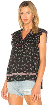 Ella Moss Embroidered Ruffle Top in Black. - size M (also in S,XS)