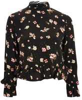 Topshop Floral print high neck peplum blouse