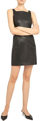 Theory Square Neck Leather Dress