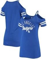 New Era Women's Royal Los Angeles Dodgers Slub Jersey Cold Shoulder T-Shirt