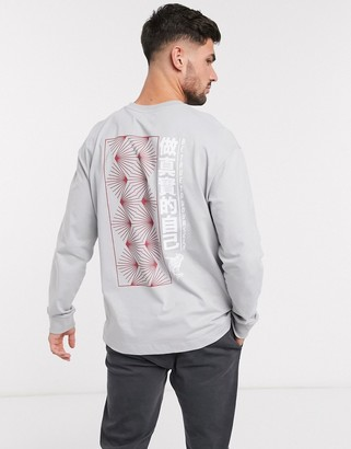 Topman long sleeve t-shirt with text print in gray