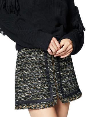 Ramy Brook Rhonda Tweed Zip-Front Mini Skirt