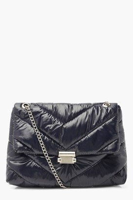 boohoo Nylon Quilted Cross Body Bag With Chain