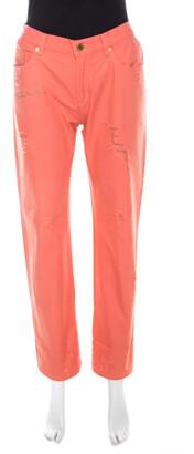 Roberto Cavalli Coral Pink Cotton Twill Denim Logo Print Distressed Jeans L