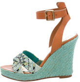 Emilio Pucci Leather-Trimmed Wedge Sandals