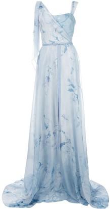 Marchesa Notte Floral Asymmetric Gown